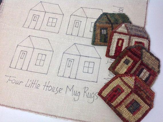 Rug Hooking Pattern, Little House Mug Rugs, on Primitive Linen or Monks Cloth, J805 on Etsy, $16.00