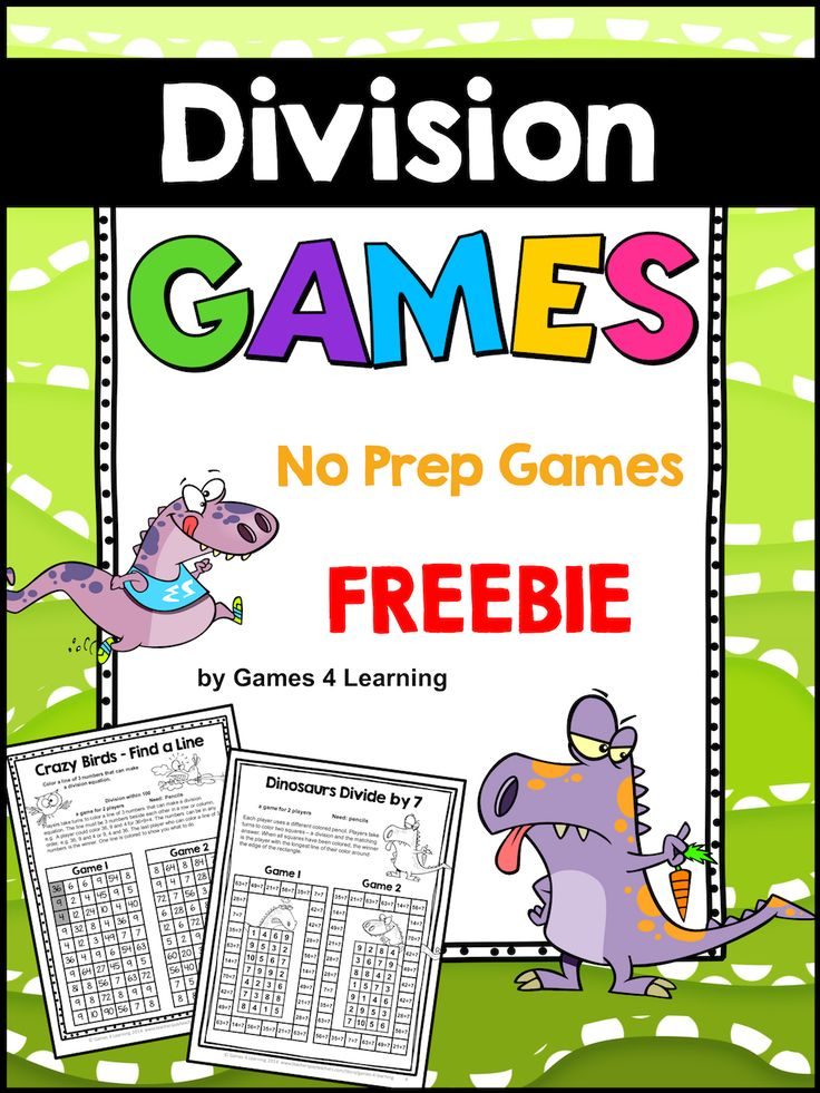 FREE Division Games - NO PREP Just print and play.  Division activity to review division facts.