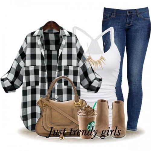 black and white flannel with denim outfit