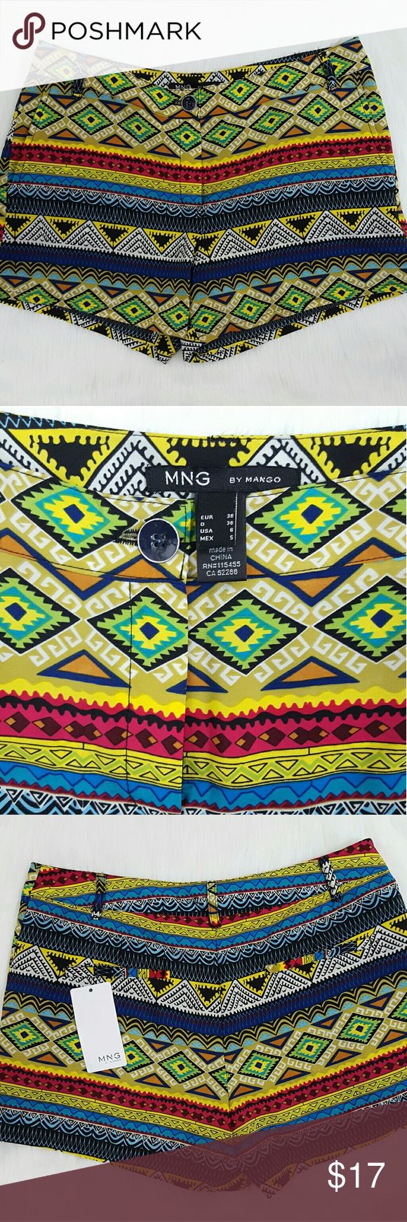 MNG by Mango Neon Aztec Dress Shorts NWT! Make a statement with these fun and trendy shorts! MNG by Mango  Shorts