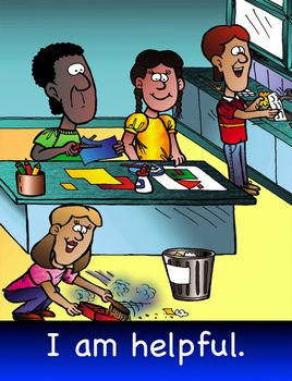 A vibrant cartoon poster for classroom displays. Value - I am helpful. Artwork by Greg Walker. Poster size- US letter.