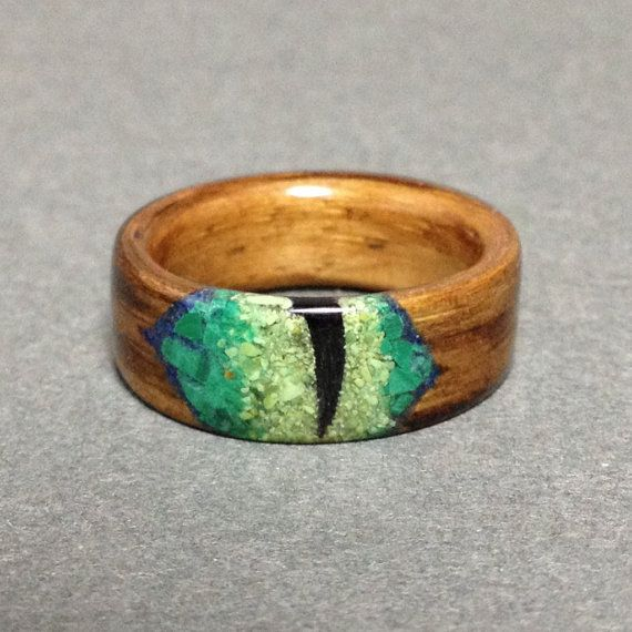 Cat Eye Ring, Bentwood Ring, Oak ring, Wood Ring Stone Inlay