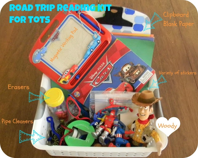 road trip activity baskets for road trip with kids