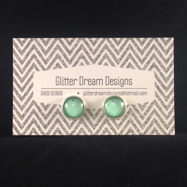 Order Code D14 Green Cabochon Earrings