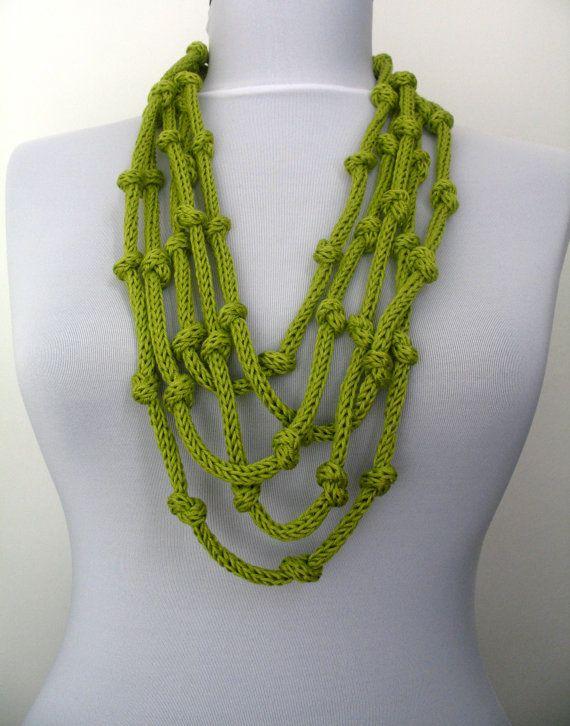 Knit Necklace  loop infinity scarflette  in kiwi by DreamList, $25.00