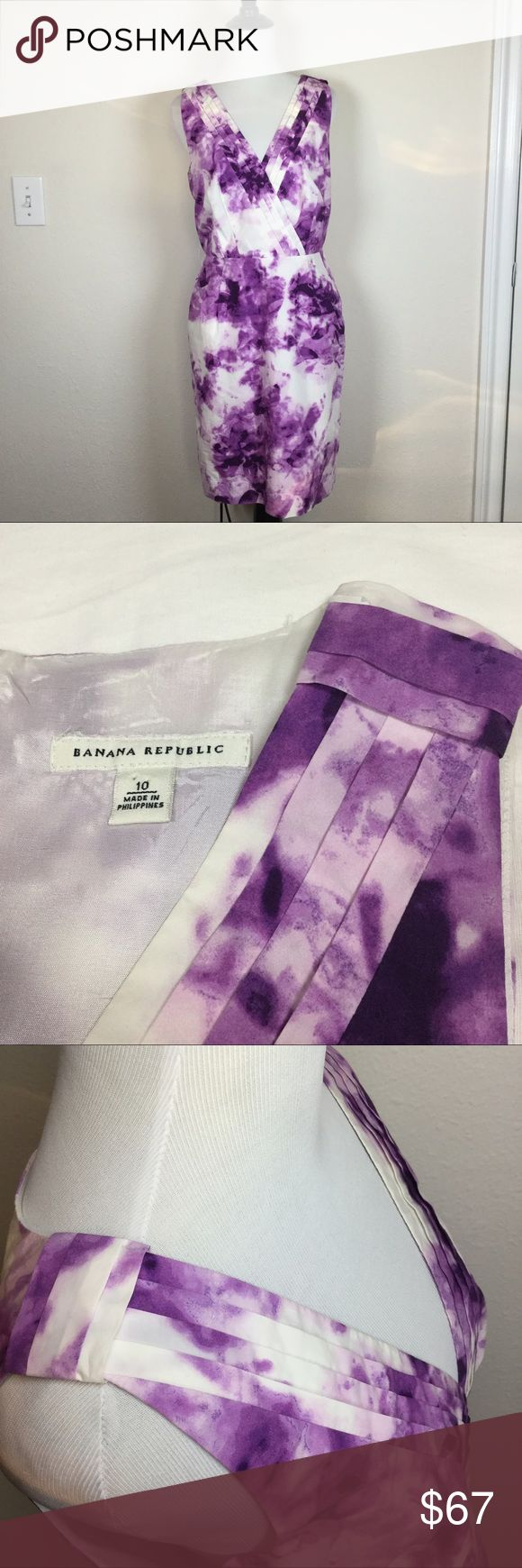 """Banana Republic Summer Dress Size 10 Petite 100% Cotton, very smooth and cool to the touch. V neck, Faux Wrap. Purple, lavender, white watercolor style. When laid flat, 36 inches long. 18 inches across bust from armpit to armpit. Ask any questions. Lined. Back zipper. No trades. Offers welcome through """"offer"""" button. 15% discount on bundles. (A) Banana Republic Dresses"""