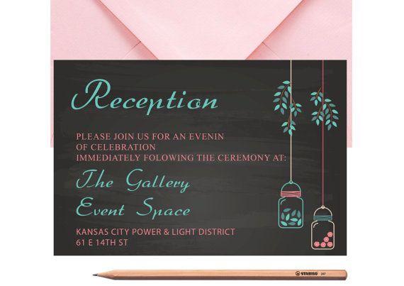 Mason Jar WEDDING RECEPTION CARD Printed or by LoveArtsStationery