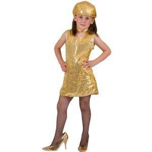 Déguisement disco fille, robe disco or paillettes sequin avec collier disco, fêtes, carnaval, anniversaire, danse.