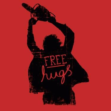 free hugs chainsaw t-shirt at Greatest Tees on Earth