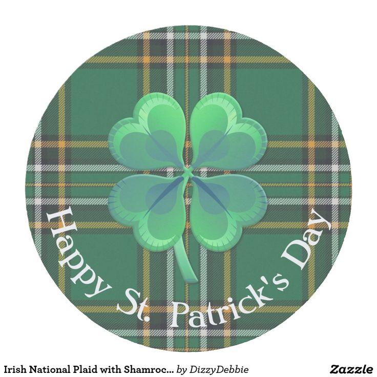 Irish National Plaid with Shamrock Paper Coaster