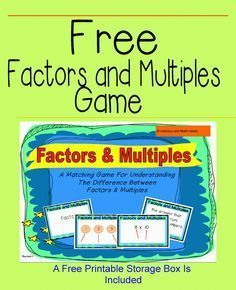 Literacy & Math Ideas: Free Factors and Multiples Game