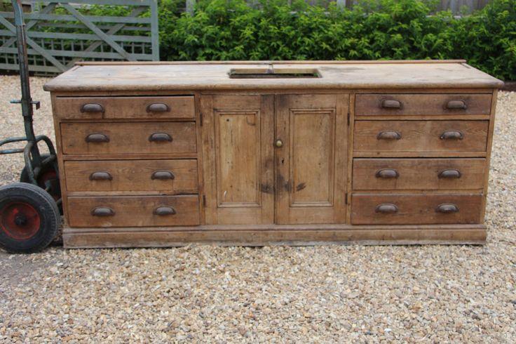 Antique pine sideboard / drawers / unit / sink / dresser - kitchen / utility
