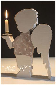 Kerzenständer - ♥ Shabby Engel-Leuchter Bub 26,5 cm groß ♥ - ein Designerstück von alsial bei DaWanda