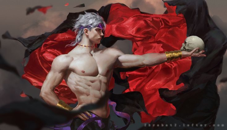 all_male dio_brando gray_hair headband jojo_no_kimyou_na_bouken krabat male necklace nipples red_eyes ribbons short_hair skull topless wristwear