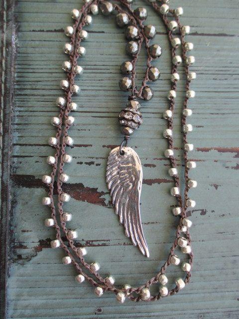 Angel wing crochet necklace - Summer Essential - long layering necklace sterling silver angel wing feather bohemian boho by slashKnots