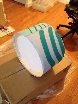 DIY Marimekko fabric-covered lampshade in progress