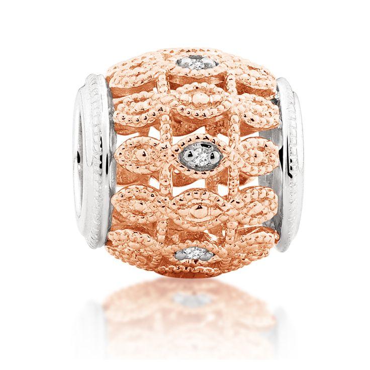 Diamond set, rose gold  sterling silver charm (11990079) #rosegold #emmaandroe