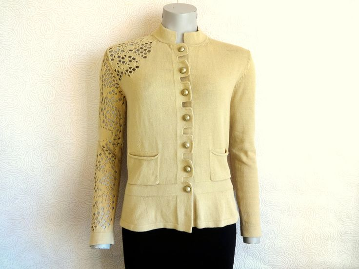 Italian D.Exterior Light Brown Cardigan Knitted Cardigan Front Pockets  Metalic Buttons Mesh Sleeve Women's Clothing Floral Cardiagan L Size - Best 25+ Brown Cardigan Ideas On Pinterest Brown Shoes Outfit