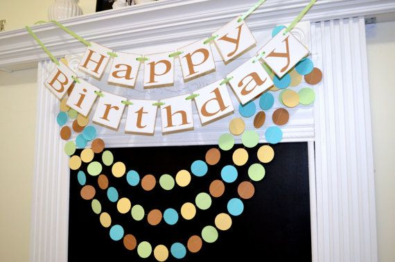 Happy Birthday banner, Pooh inspired birthday sign decorations, birthday party decor, Unisex birthday banner,
