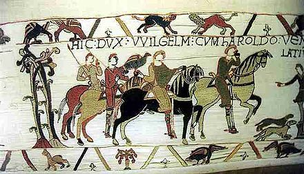 """Bayeux Tapestry ( detail) - 1080.  Wool embroidery on linen.  20"""" X 225'.  Centre Guillaume le Conquerant, Bayeux, France."""