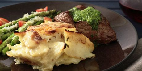 Tri Tip Steak with the World's Best Scalloped Potatoes, Asparagus and Herbed Butter