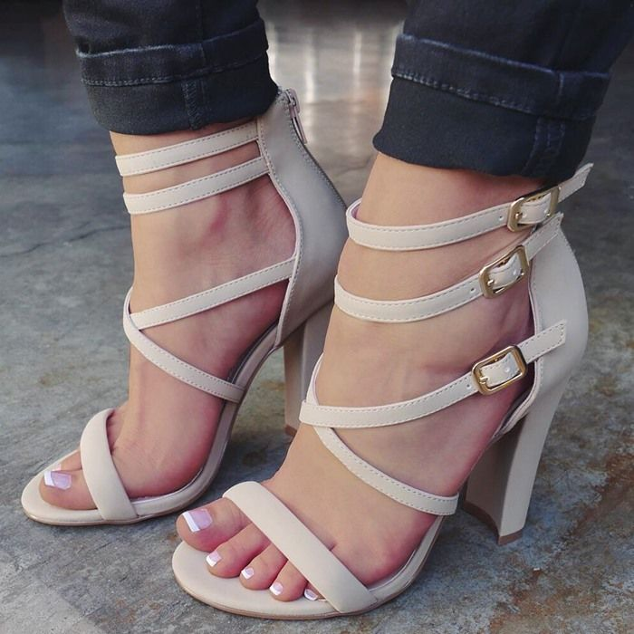 Day 'N Cage Strappy Chunky Heels