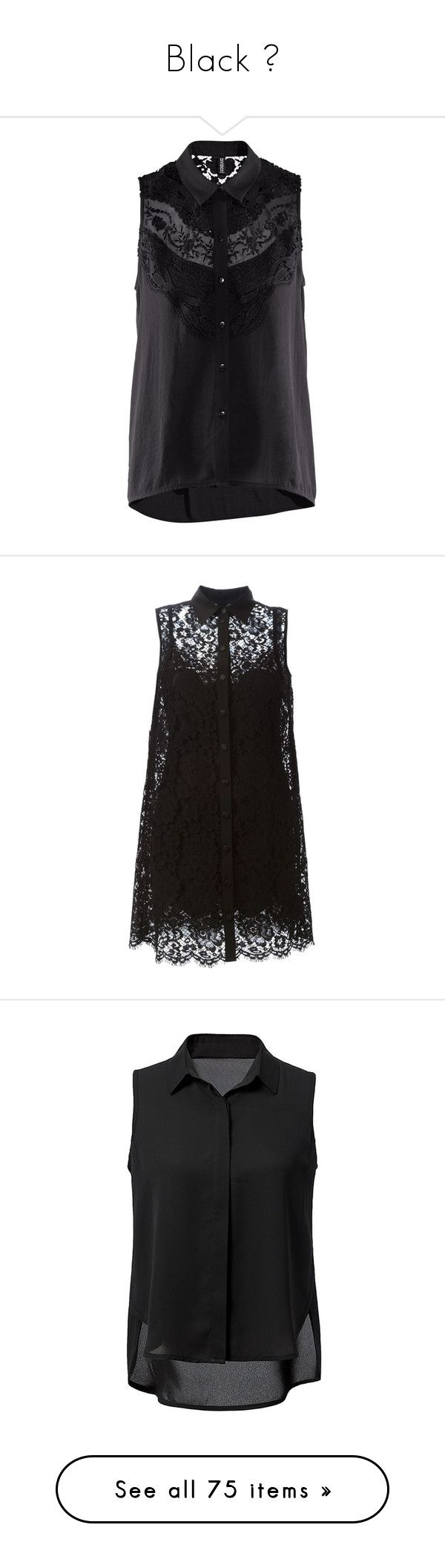 """""""Black ♥"""" by ellaa-h ❤ liked on Polyvore featuring tops, blouses, black, h&m, lace, sheer top, transparent top, transparent blouse, sleeveless tops and see through blouse"""