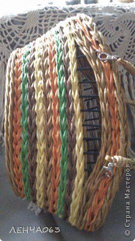 Поделка изделие Плетение АВОСЬКА- КОРЗИНКА- СУМОЧКА Бумага газетная Картон гофрированный Трубочки бумажные фото 6