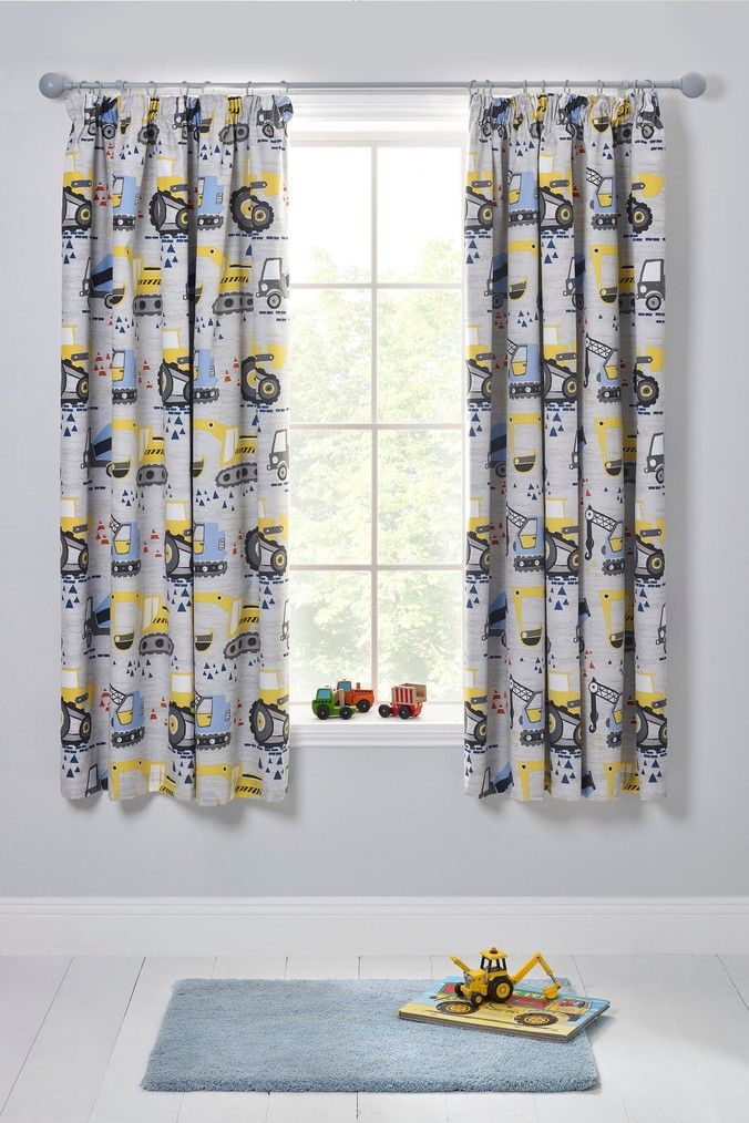Next Trucks And Diggers Blackout Pencil Pleat Curtains