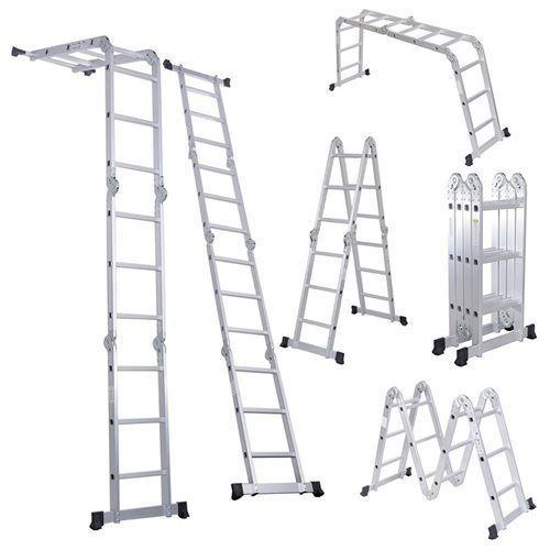 Apontus 12.5FT 330LB Multi Purpose Step Platform Aluminum Folding Scaffold Ladder