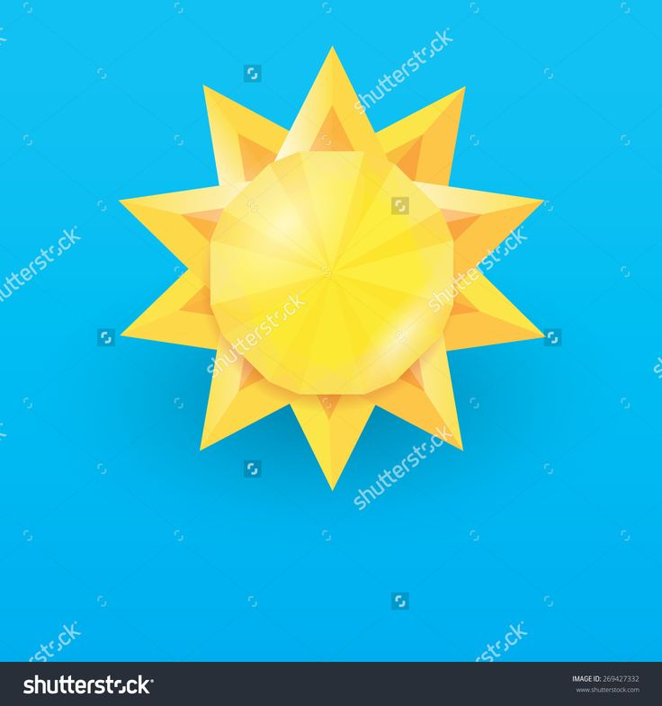 Sun In Blue Sky . Vector Illustration Low Poly Style - 269427332 : Shutterstock