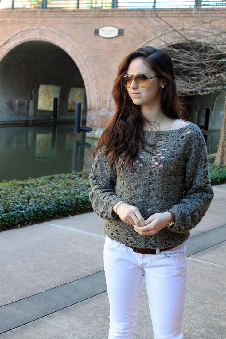 Stunning Handmade Crochet Sweater found at Houston Goodwill Thrift Store Shop