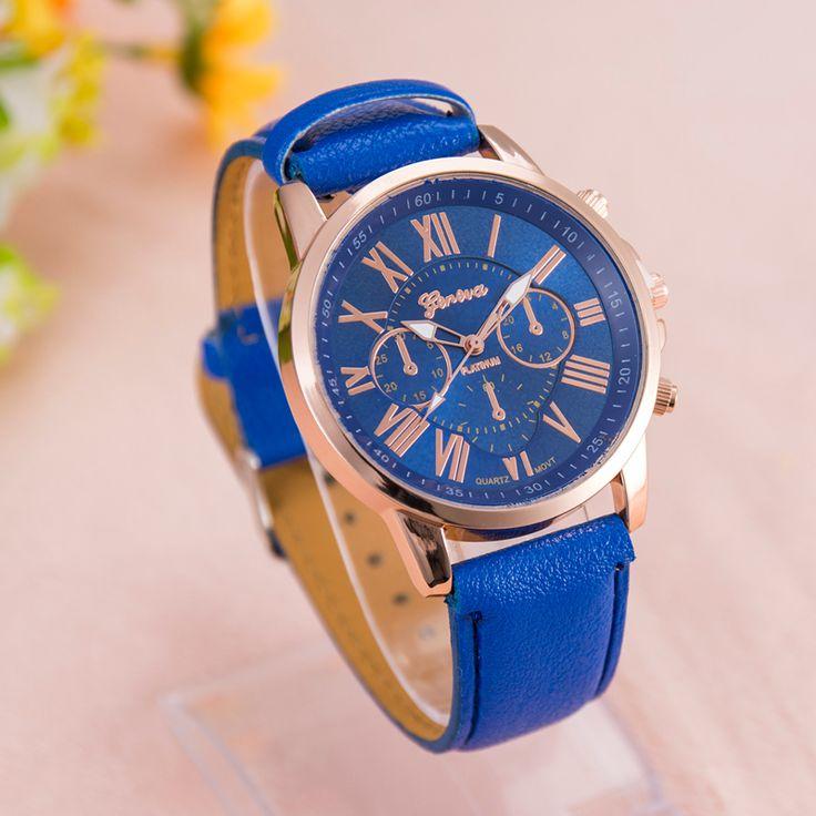 Дешевое 2015 горячая распродажа поддельные три глаз римские цифры женева кожа кварцевые часы женщины Reloj Mujer женщины мода наручные часы в продаже, Купить Качество   непосредственно из китайских фирмах-поставщиках: