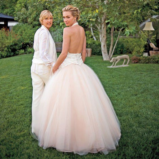 Pin for Later: Ellen DeGeneres and Portia de Rossi Have the Look of Love Down  The couple tied the knot at their LA home in August 2008.
