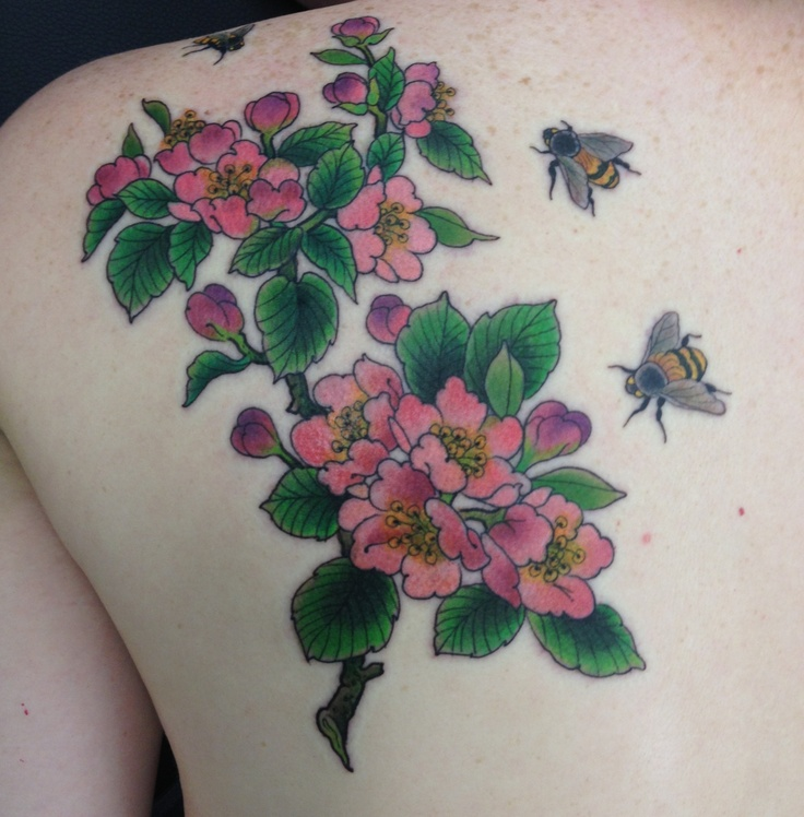 The final result :-) Tattoo, apple blossom, flower, bumblebees, Francisco Rocha, The Family Business