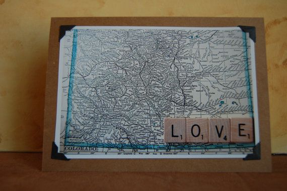 "Vintage Colorado map with scrabble tile message ""Love"" photo blank greeting card~great for wedding, thank you's, or anniversaries. $4.95 found at Tumbleweedsandthyme on Etsy :)"