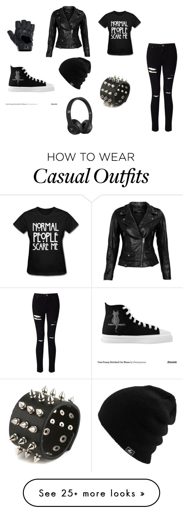 """Black casual clothing"" by brisa-rubio on Polyvore featuring Miss Selfridge, VIPARO, FRACOMINA and Beats by Dr. Dre"