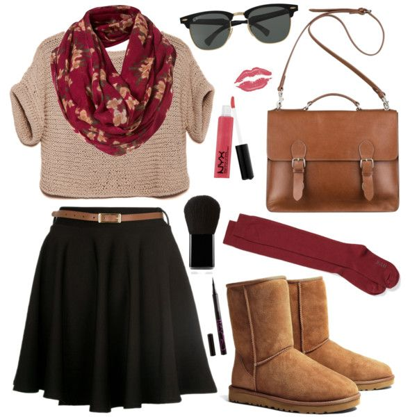 Untitled #430 by sofia18-7 on Polyvore featuring moda, Hue, UGG Australia, Mulberry, Ray-Ban, Edward Bess, NYX and Barry M