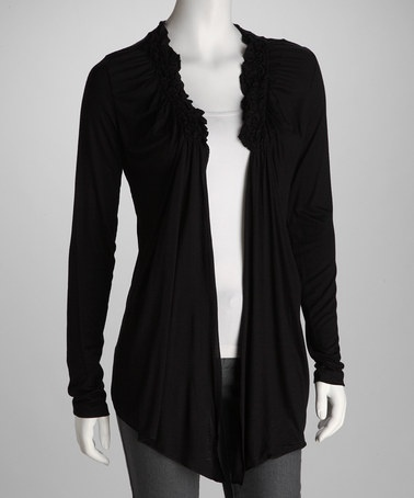 Take a look at this Black Gathered Open Cardigan by Dare to Have Flair: Women's Apparel on @zulily today!: Cardigans, Style, Black Gathered, Gathered Open, Zulily Today