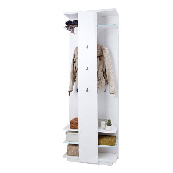 Canberra Wall Mounted Hallway Stand In White High Gloss