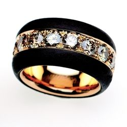 band in iron and gold with cognac diamond   Michael Weggenmann