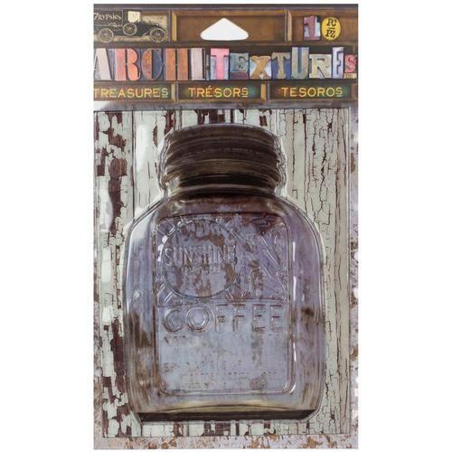 "7 Gypsies Architextures Treasures Adhesive Embellishments - Sunshine Coffee Jar W/Metal Lid 4"""""