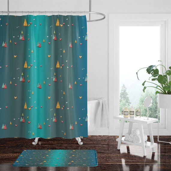 Teal Boho Leaves And Hearts Shower Curtain W Bathmat Set Options