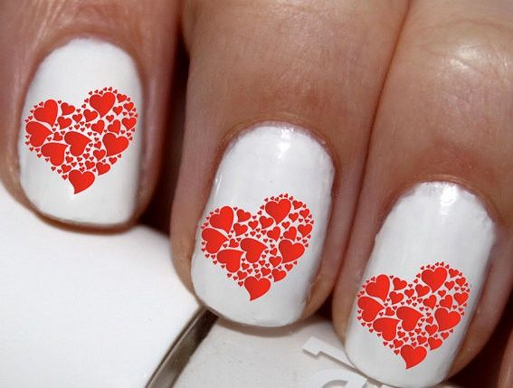 20 pc Valentines Day Heart Red Heart Nail Art Nail Decals Nail Stickers Lowest Price On Etsy #cg4372na