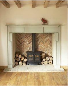 wood burner contemporary herringbone surround - Google Search