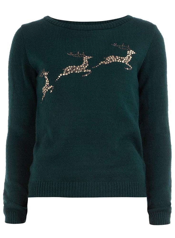 Green reindeer jumper  from Dorothy Perkins