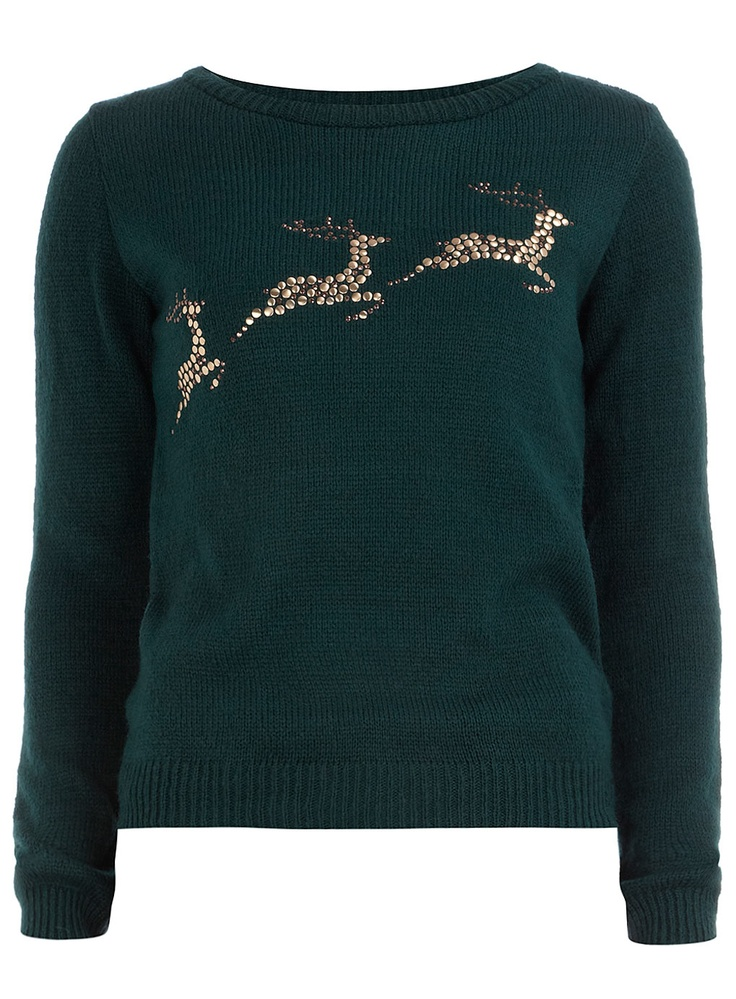 Green reindeer jumper  #DorothyPerkins #wishlist