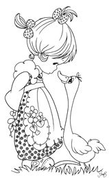 Precious Moments Coloring Pages: Girl and Goose