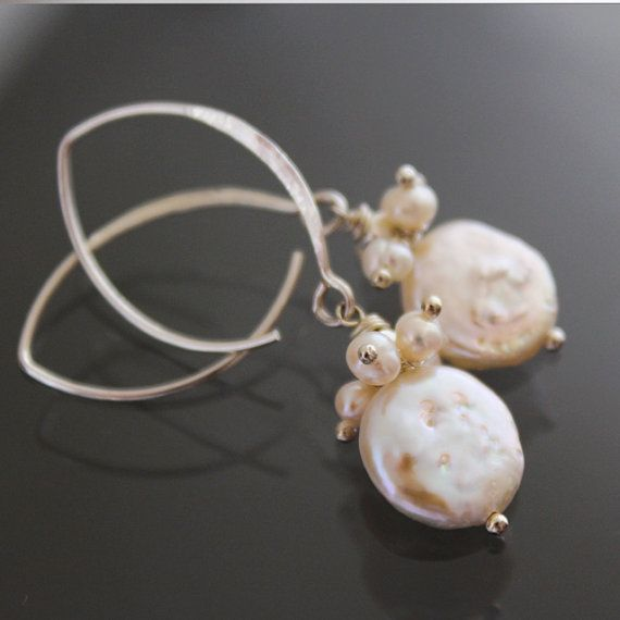 Pearl Bridal Earrings  Natural White Pearls by karioi on Etsy, $132.00
