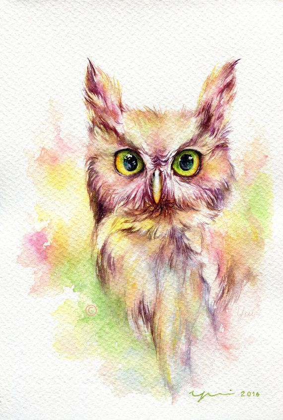 PRINT Fantasy Owl Watercolor painting 7.5 x 11 by WaysideBoutique
